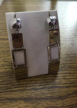 Серебряные серьги «пластинка»