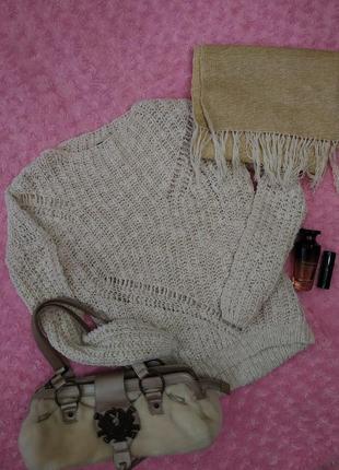 Нюдовый милый свитер asos вязанный крупная вязка топовый
