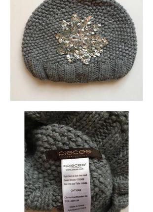 Натуральная эксклюзивная шапочка pieces accessories