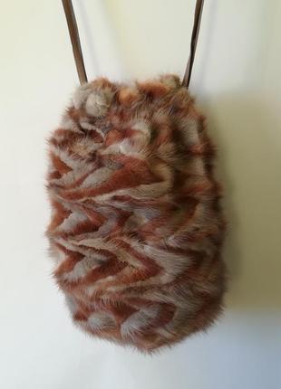 Классная сумка-торба из натурального меха норки и натуральной кожи.