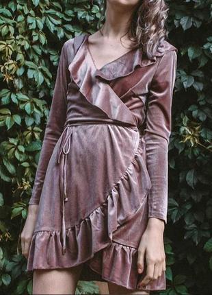 Велюровое платье назапах