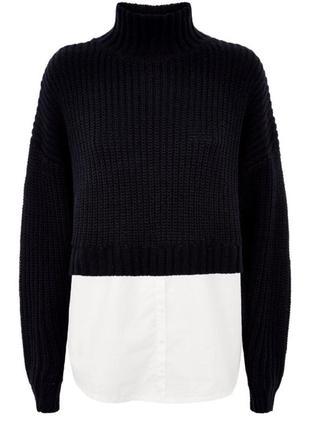 Нереальный тёплый свитер со спущенными швами на рукавах  от new look. снизу рубашка,м