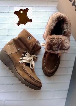 Ботинки, полусапожки на меху из натуральной кожи - 40 р.