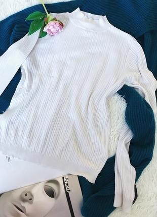Белая базовая водолазка гольф вискоза рубчик miss selfridge