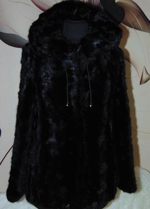 Норковая шуба полушубок с капюшоном