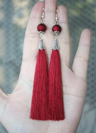 Серьги серёжки кисти кисточки красные вишнёвые с матовой бусиной