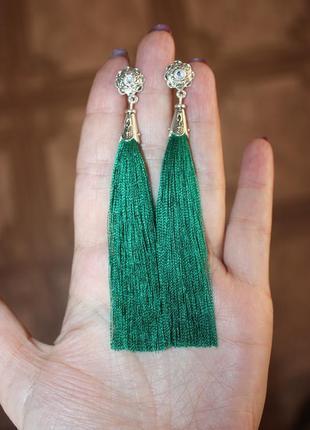 Серьги серёжки кисти кисточки зелёные изумрудные
