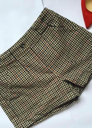 Стильные шерстяные шорты гусиная лапка h&m