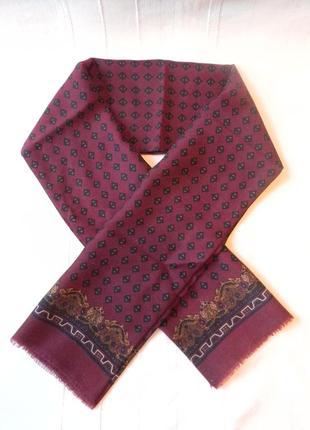Мужской  шарф кашне двухсторонний шерсть 100%, 130*30,5