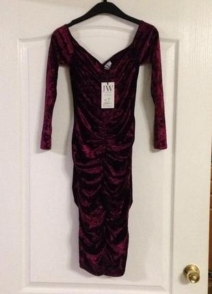 Велюровое платье с драпировкой jessica wright, новое!