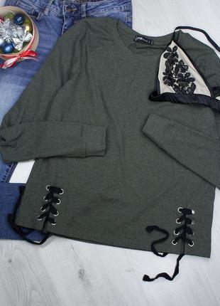 Fb sister хаки кофта с завязками