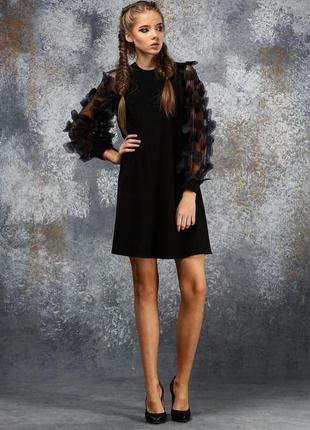 Дизайнерское чёрное шикарное платье