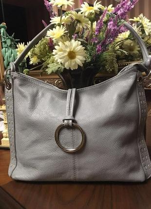 Вместительная сумка vera pelle италия натуральная кожа