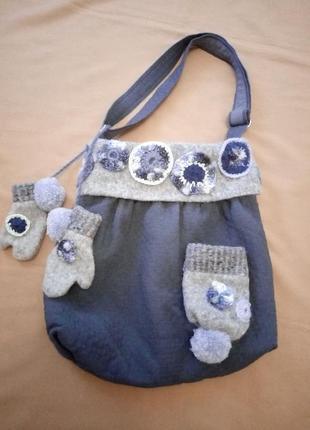 Большая прикольная сумка в стиле бохо, зимний вариант
