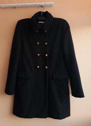 Шерстяное фирменное двубортное пальто kookai