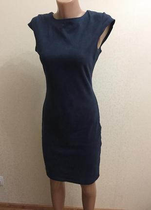 Стильное платье, синее платье, платье миди