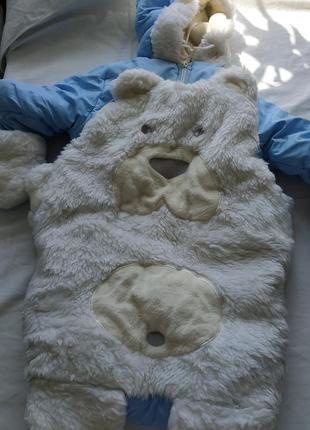 Конверт комбинезон мишка зимний 0-6 месяцев