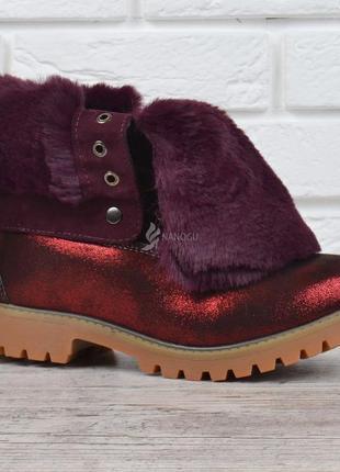 Ботинки женские зимние на шнуровке натуральная опушка waterproof бордовые