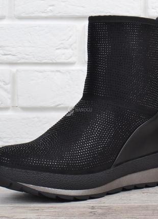 Дутики crystal💎 женские зимние сапоги на платформе черные со стразами