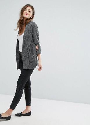 Стильный удлиненный блейзер с карманами, трикотажный жакет, кардиган, пиджак new look2