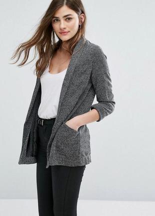 Стильный удлиненный блейзер с карманами, трикотажный жакет, кардиган, пиджак new look