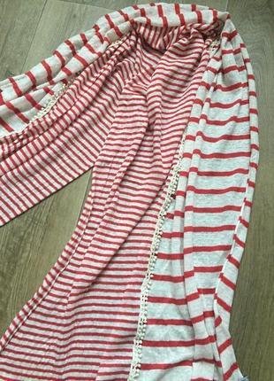 Полосатый шарф палантин красный айвори кружево лён
