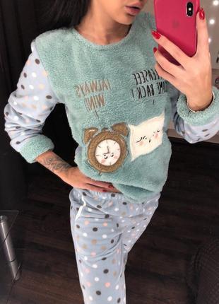Тёплая флисовая, махровая пижама, домашний костюм