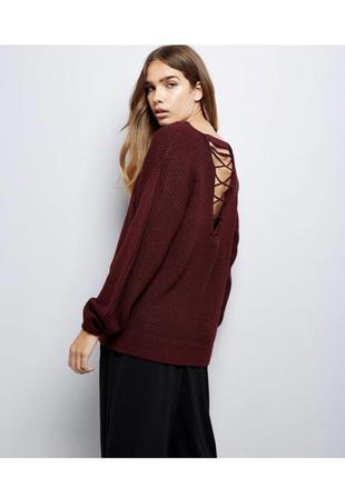 Актуальный объемный свитер оверсайз с переплетом на спине, вязаный джемпер new look
