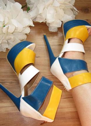 Босоножки на шпильке белые-синие-желтые кожа туфли босоніжки
