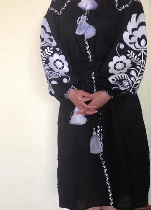 Платье  вышитое льняное бохо,этно,стиль вита кин