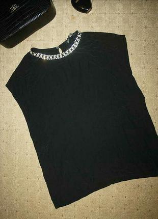 Шикарная блузка от зара с жемчугом и стразами