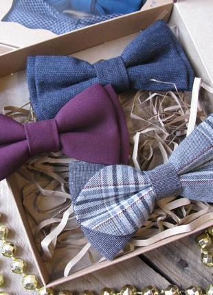 Набор из галстуков-бабочек в подарочной коробке. ручная работа.