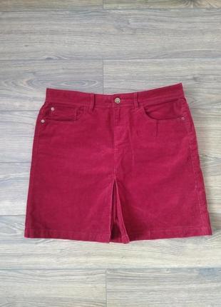 Вельветовая бордовая юбка 12/14 размер трапеция