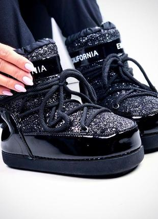 Луноходы черные на шнуровке с эффектом битого стекла
