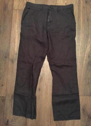 Чёрные повседневные мужские брюки лён /льняные штаны