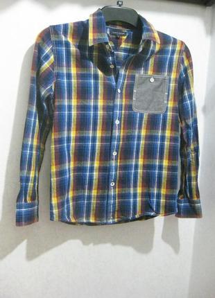 Рубашка детская tommy hilfiger для мальчика в клетку синяя байка коттон хлопок