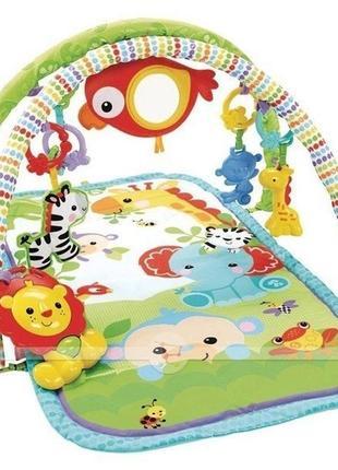 Музыкальный игровой коврик fisher-price 3 в 1 друзья из тропического леса