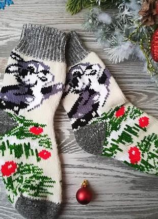 Новогодние носки из овечьей шерсти зайчики на белом с серым манжетом, р. 38-41