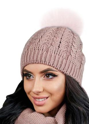 Женская вязаная шапка с помпоном из меха песца