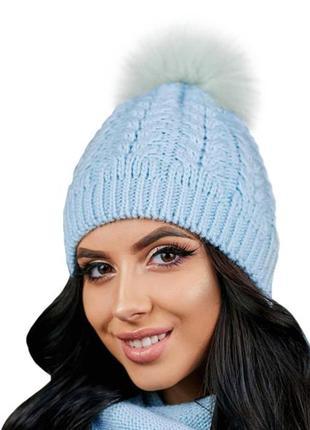 вязаные шапки с меховым помпоном женские 2019 купить недорого