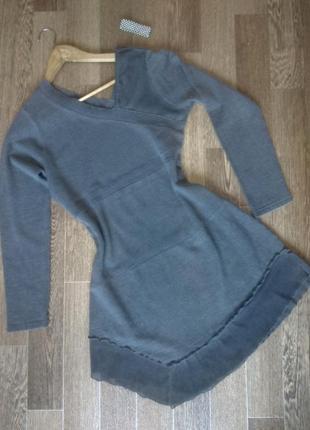 Изысканная серая туника платье из мериносовой шерсти от французского бренда