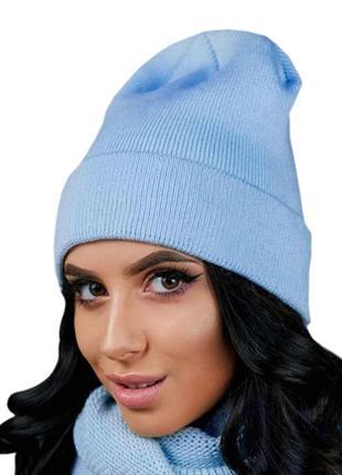 Вязаная женская шапка бини