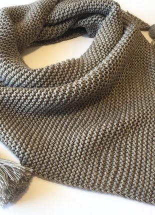 Шарф вязаный треугольник бактус шарф in ua