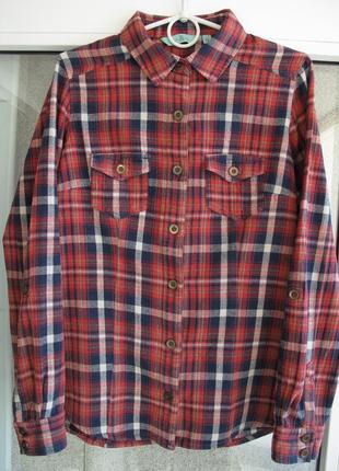 Теплая стильная рубашка в клетку размер l от бренда new look.