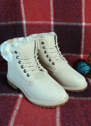 Зимние утепленные ботинки на шнуровке, с меховой отделкой - в наличии 37, 38, 40, 41