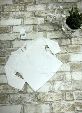 Белый хлопковый реглан нарядный, блуза на девочку с оборками англия
