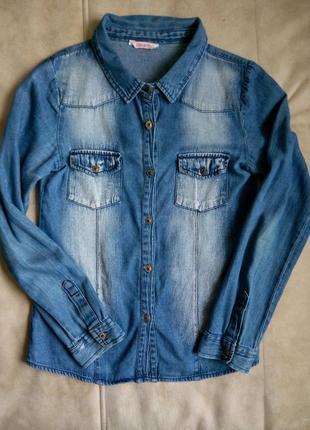 Джинсовая рубашка miss e-vie девочке на 14-15 лет рост 158-164см