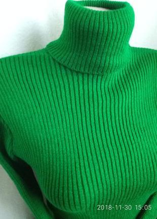 Гольф,свитер,гольф в рубчик , лапша 42-48 с-м-л-хл зеленый сочный3