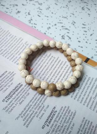Набор браслетов, браслет из натурального камня, мрамор, парные браслеты