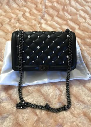 Кожаная сумка сумка кожаная с жемчугом  италия